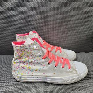 Youth Sz 4 White Converse Speckled High Tops